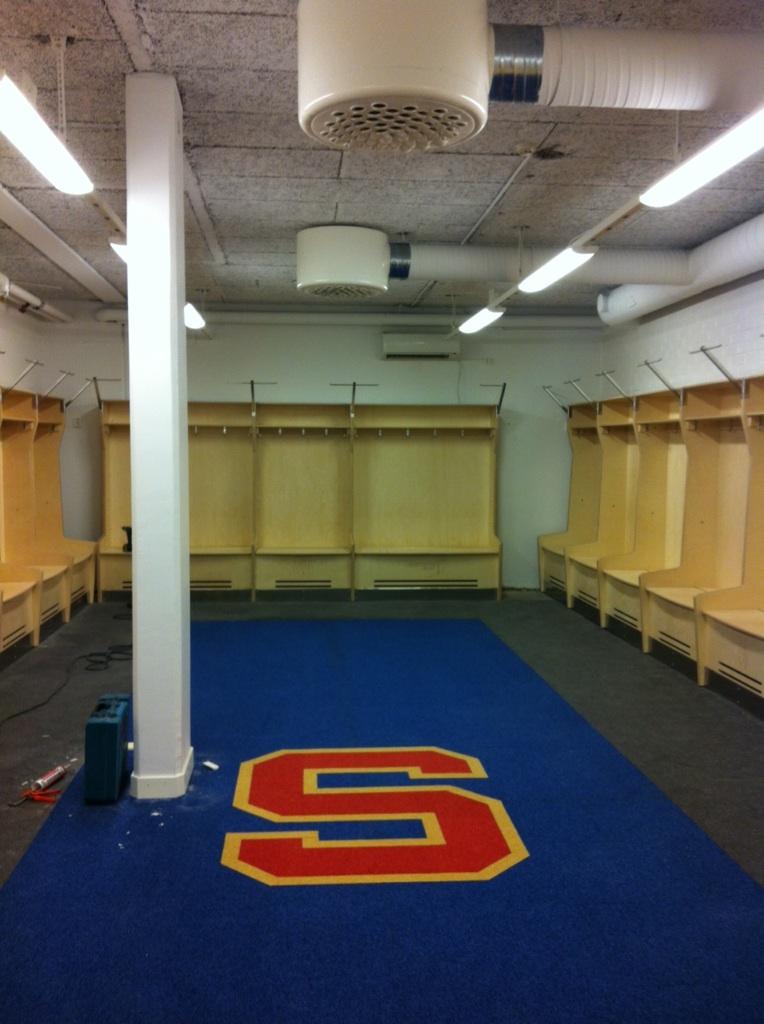 SSK:s nya omklädningsrum inte helt iordningställt än.