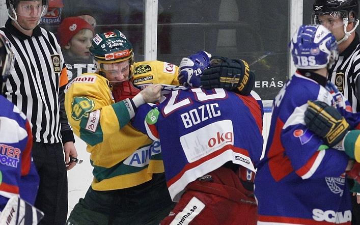 Dennis Bozic i slagsmål.