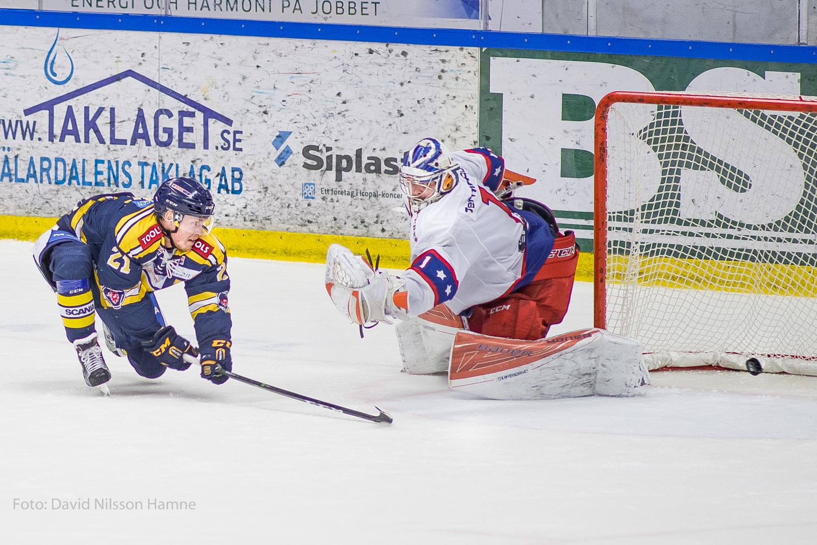 Johan Skinnars sätter avgörande straff mot Huddinge. Foto: David Nilsson Hamne