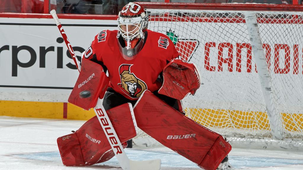 Filip Gustavsson i Ottawa Senators matchtröja.