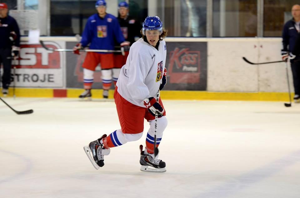 David Pastrnak under träning med J20-landslaget.