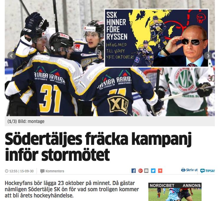 """Lokaltidningen skrev om SSK-fansen, och Uppdragsports """"kampanj""""."""